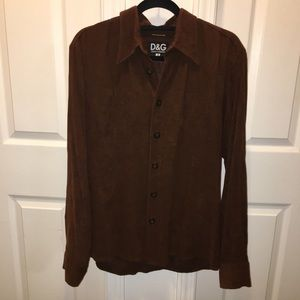 DOLCE AND GABBANA BROWN  SUEDE STYLE TOP